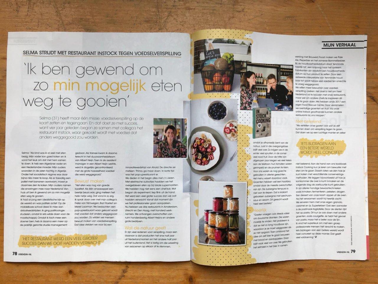 Twee paginas in de Vriendin waarin mede-oprichter Selma vertelt hoe en waarom Instock begonnen is en de heerlijke gerechten die je in de restaurants kunt komen proberen en