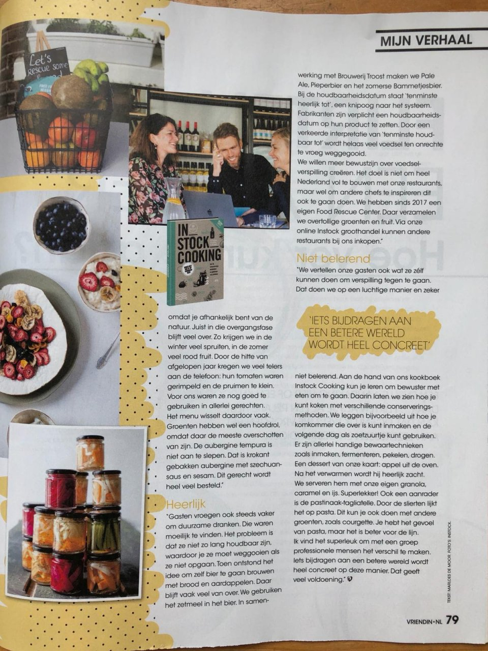 Pagina in de Vriendin waarin Selma vertelt over de heerlijke gerechten van Instock en wat je zelf kunt doen om voedselverspilling tegen te gaan.