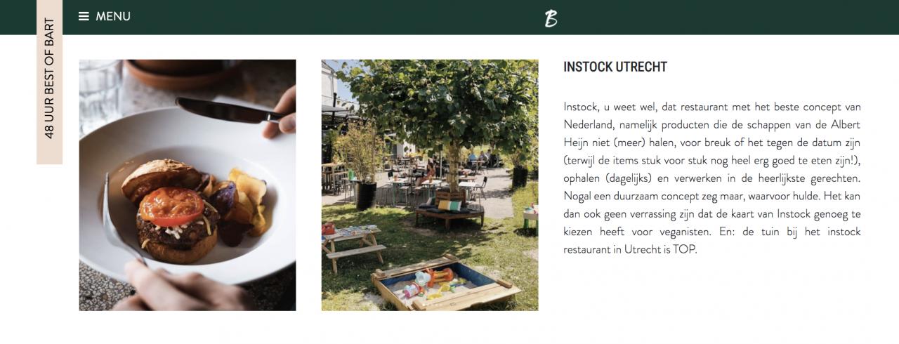 Instock Utrecht als vegan tip in Barts Boekje