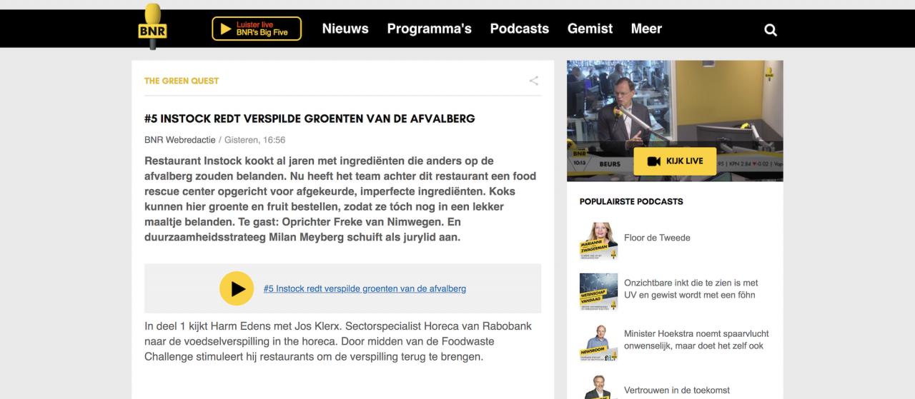 Instock op de BNR Nieuwsradio, Freke pitcht InstockMarket.nl